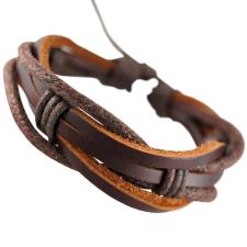 Brown Red Leather Rope Surfer Wrap Bracelet