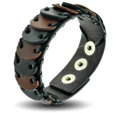 Brown and Black Leather Bracelet