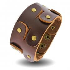 Brown Leather Bracelet with GoldTone Rivets and Flappy Body