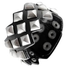 Black Leather Bracelet with Ancient Silver Tone Prism Pyramid Studs