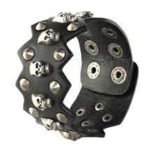 Black Leather Bracelet with Skulls and Spikes