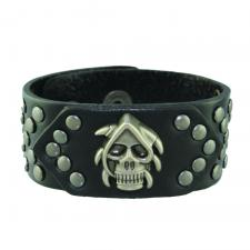 Black Leather Skull Bracelet with Steel Tone Rivets