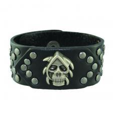 Black Leather Skull Bracelet with Steel Tone Rivets