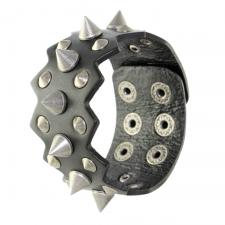 Black Leather Bracelet with Spikes