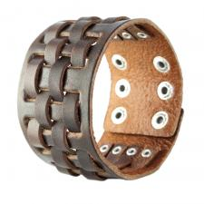 Brown Leather Bracelet with Cross Weave Design