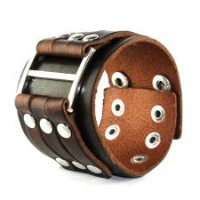 Brown Leather Bracelet With Buckle Design