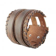 Brown Leather Bracelet with Two Straps and Buckles