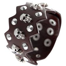 Brown Leather Bracelet with Spikes and Skulls and Zig Zag Edges
