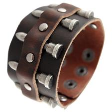 Brown Leather Bracelet with Ancient Silver Tone Bullet Rivets