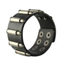 Black Leather Bracelet with Bullets