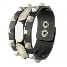 Three Sectioned Black Leather Bracelet with Steel Tone Plates and Pyramid Studs