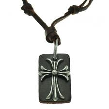 Free Size Brown Leather Necklace w/ Matching Leather Dog Tag and Cross Pendant