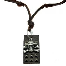 Free Size Brown Leather Necklace w/ Matching Dog Tag and Skull & Crossbones Pendant