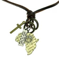 Free Size Brown Leather Necklace with Various Charms