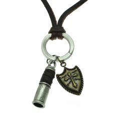 Free Size Brown Leather Necklace w/ Whistle and Shield Charms