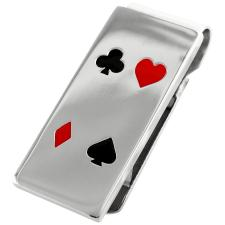 Stainless Steel Money Clip w/ Enamel Coated Playing Cards Symbols Design