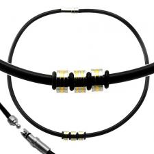 Black Rubber Necklace w/ Gold PVD Striped Barrel Charms and Stainless Steel Closure