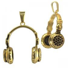 Stainless Steel Gold PVD Hip Hop Headphones with Black CZ Pendant