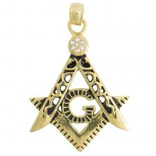 Gold PVD Masonic Square Compass Pendant