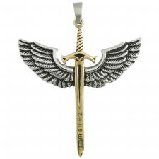 Stainless Steel Two Tone Sword Wings with scripter Pendant