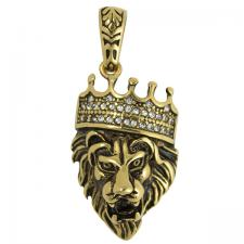 Stainless Steel Gold PVD Lion with CZ Crown Pendant