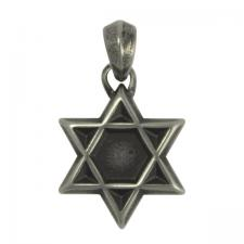 Stainless Steel Oxidized Star of David Pendant