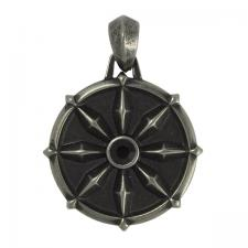 Stainless Steel Gun Color Mystic Pendant with Black Stone