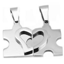 Stainless Steel Pendant Puzzle Design with Half Heart Over Relief