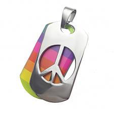 Peace Sign Rainbow Dog Tag