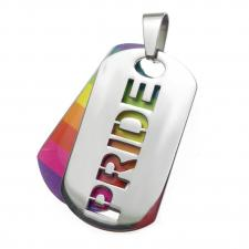 Rainbow Pride Dog Tag Pendant