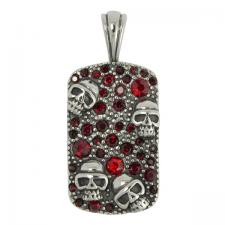 Stainless Steel Red Encrusted Dog Tag with Skull Faces