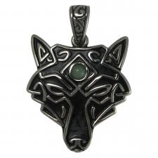 Stainless Steel Native Wolf Pendant with Green Stone