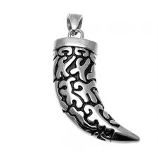 Stainless Steel Engraved Talon Pendant with Black Enamel Design