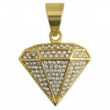 Stainless Steel Encrusted Gold PVD Diamond Pendant