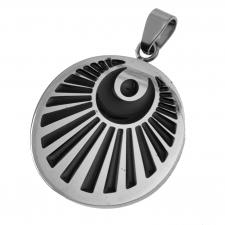 Stainless Steel Circular Pendant with Moon Symbol