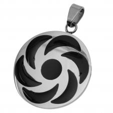 Stainless Steel Circular Pendant with Sacred Geometrical Symbol
