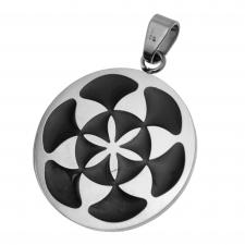 Stainless Steel Circular Pendant with Seed of Life Symbol Engraved