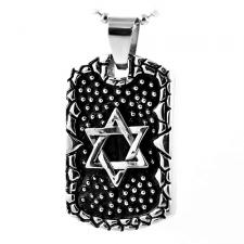 Star of David Stainless Steel Dog Tag Pendant