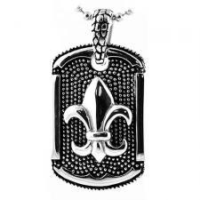 Stainless Steel Pendant With Fleur De Lis Design