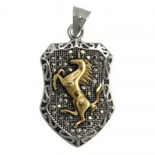 Small Stainless Steel Pendant with Gold Stallion