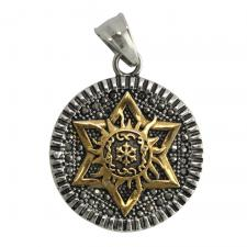 Two Tone Stainless Steel Sun and Star Pendant