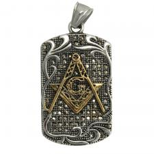 Stainless Steel Pendant With Gold Masonic Symbol