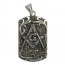 Stainless Steel Masonic Symbol Dog Tag Pendant