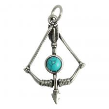 Two Tone Stainless Steel Bow & Arrow Pendant With Blue Marble Stone
