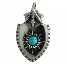 Stainless Steel Pendant With Blue Marble Stone & Eagle Hand