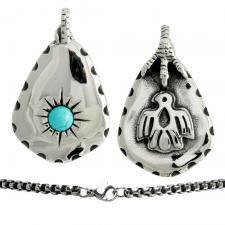 Stainless Steel Eagle Foot turquoise stone