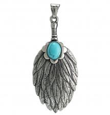 Stainless Steel Mystic Feather pendant with Turquoise Stone