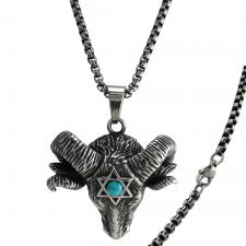 Stainless Steel Ram's Head Pendant with Star of David and Turquoise Accent