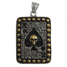 Two Tone Stainless Steel Ace of Spaces With Skull Pendant
