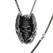 American Eagle Skull Ranch Stainless Steel Silver Necklace